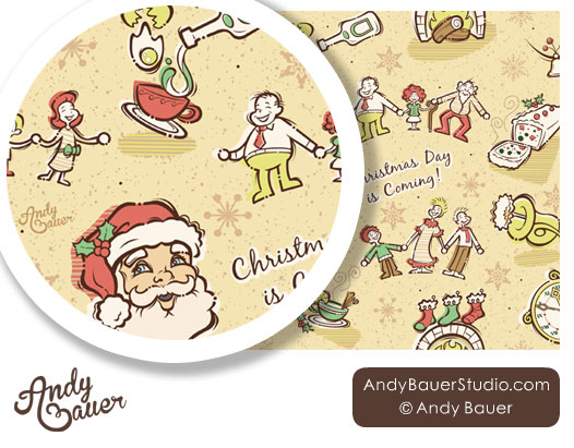Christmas repeat pattern art licensing by Andy Bauer