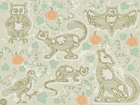 Witch's Pet Bones Halloween Art Licensing Repeat Pattern by Casper Spell