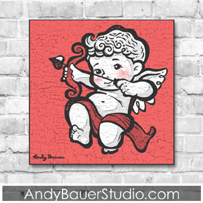 Cupid Wall Art Print for Sale Rustic Cherub Illustration