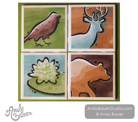 Wilderness Coasters Robin Deer Bear Lily Pad by Andy Bauer