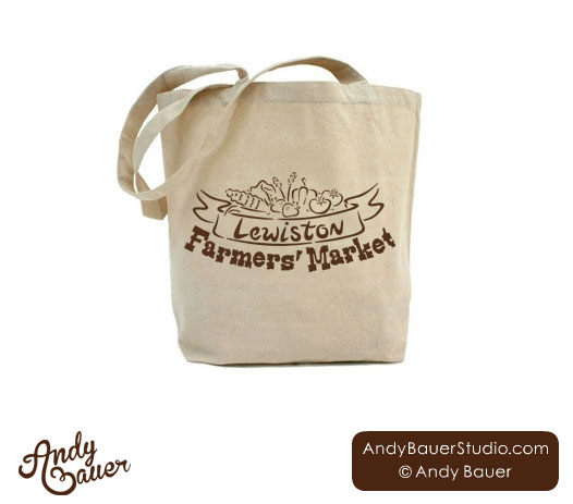 reusable bag Lewistion farmers market logo design Andy Bauer