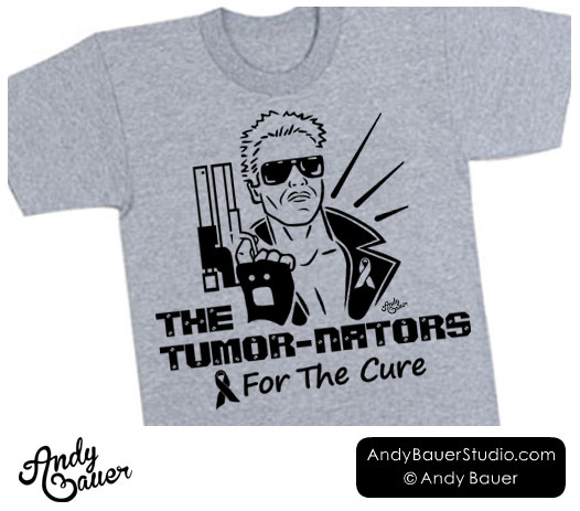 tumornators terminator tee shirt design for the cure Andy Bauer