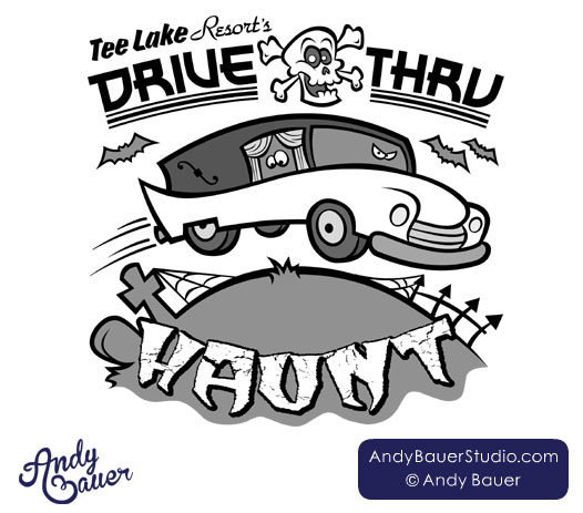 Drive-Thru Haunt logo design by Andy Bauer