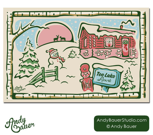Tee Lake Cabin Snow Illustration Hire Andy Bauer