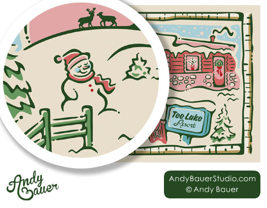 Custom Illustration Hire Illustrator Andy Bauer Holiday Snowman