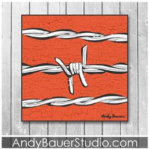 Barbed Wire Art Rustic Pop by Andy Bauer