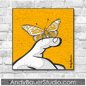 Butterfly on Finger Rustic Pop Art Andy Bauer