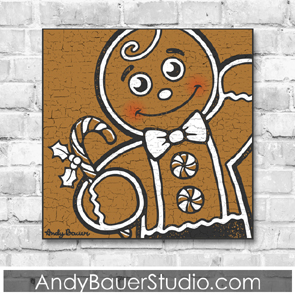 Gingerbread Man Fine Art Print Christmas Rustic Pop Design Andy Bauer