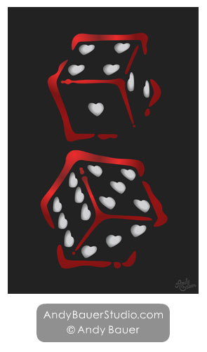 Poster Art for Sale Dice Gambling Vegas Love Andy Bauer