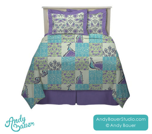 Peacocks Art Licensing Collection Bedding by Andy Bauer
