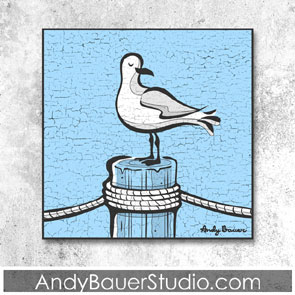 Seagull Art Rustic Pop Andy Bauer