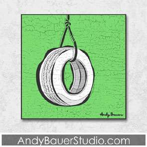 Tire Swing Fine Art Rustic Pop Andy Bauer