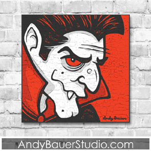 Andy Bauer Studio Fine Art Rustic Pop Vampire Halloween Line Licensing Prints