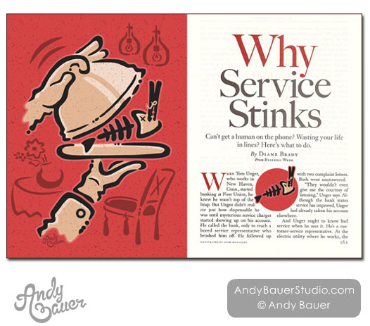 Service Stinks Editorial Illustration Andy Bauer