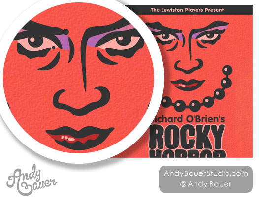 Rocky Horror Show theatre poster design by Andy Bauer