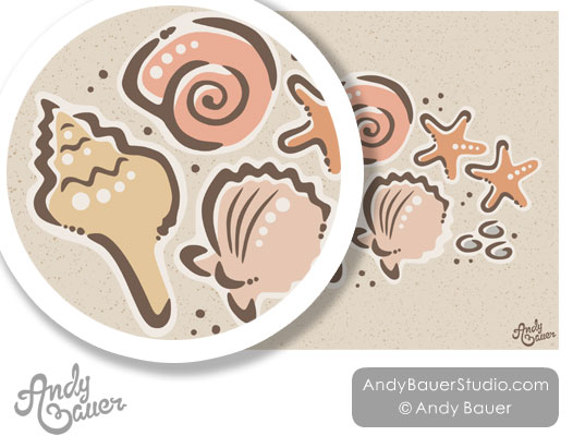 Sea Shells Happy Fun Art Inked Inky Lines Andy Bauer