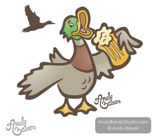 Drunk Duck Drinking Beer Cartoon Andy Bauer