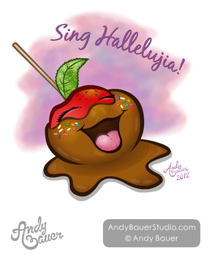 Happy Caramel Apple Character Design Andy Bauer