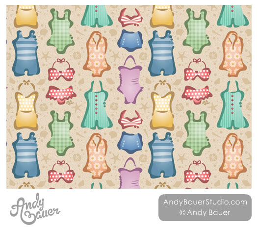 Retro Swimwear Beachwear Art Licensing Pattern Andy Bauer