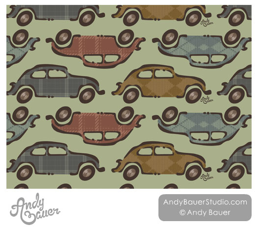 VW Beetle Bug Art Licensing Pattern Andy Bauer