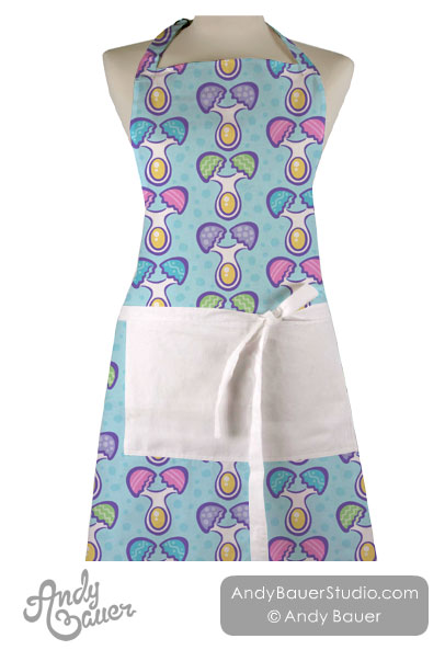 Quirky Easter Egg Pattern Apron Happy Art Andy Bauer