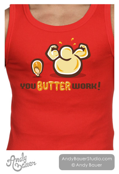 Popcorn TShirt Art Butter Fitness Workout Andy Bauer