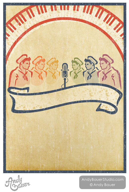 Retro Navy Sailors Singers Gay Rainbow Poster Design