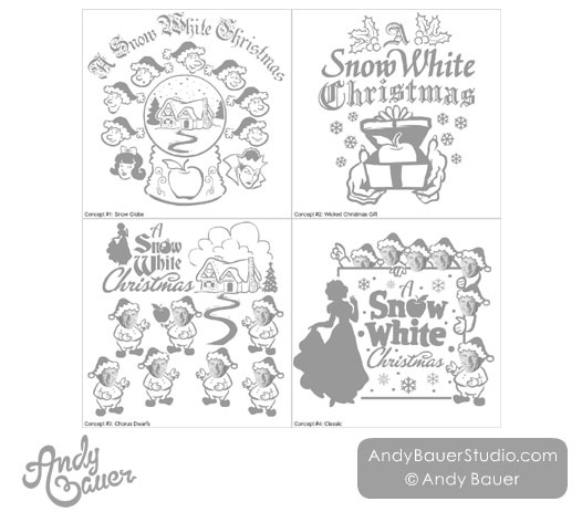 Snow White Christmas Holiday Poster Design Andy Bauer