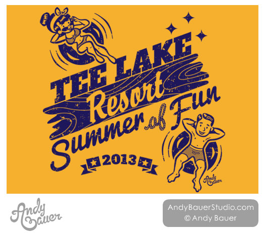 Retro Lake Tubing Clip Art Family Reunion T-Shirt Design Andy Bauer