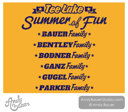 Retro Lake Summer Clip Art Family Reunion T-Shirt Design Andy Bauer