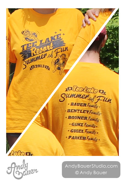 Retro Lake Tubing Family Reunion T-Shirt Design Andy Bauer