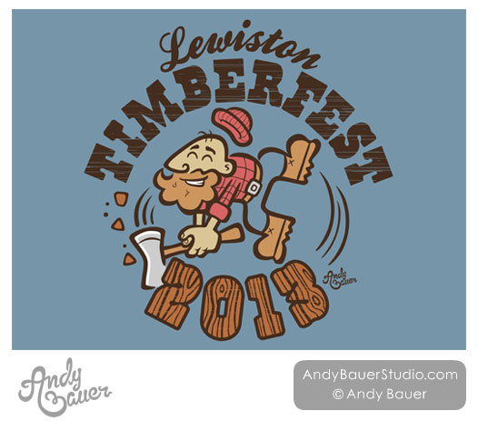 Lewiston Timberfest 2013 Michigan Retro T Shirt Design Andy Bauer