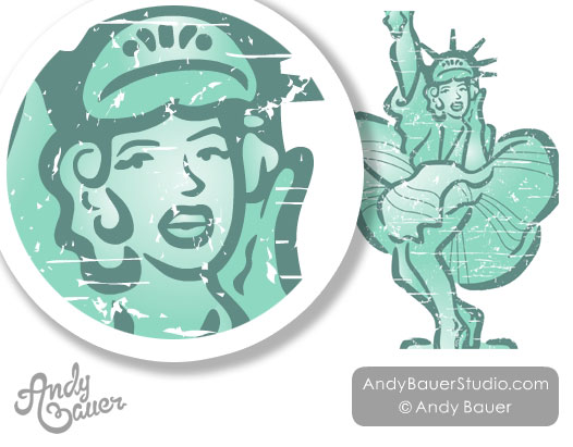Marilyn Monroe Statue of Liberty Retro Clip Art Andy Bauer