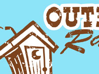 Outhouse Racing Race retro clip art rustic Andy Bauer