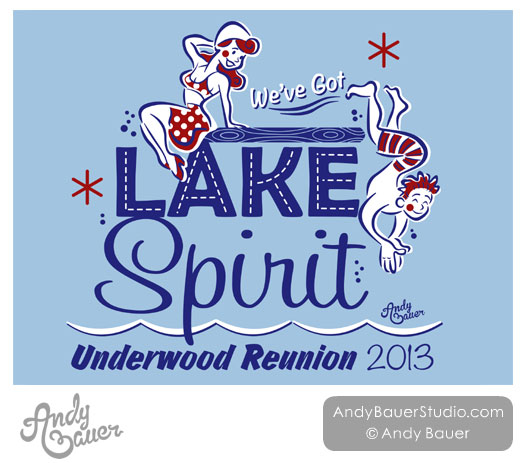 Retro Lake Family Reunion TShirt Design Andy Bauer