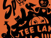 Spook-O-Rama Tee Lake Halloween t-shirt by Andy Bauer