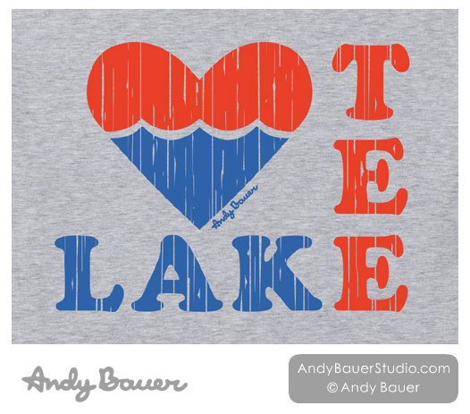 Love Tee Lake Distressed T-Shirt Design by Andy Bauer