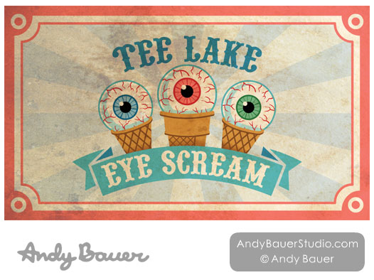 Tee Lake Eye Scream by Andy Bauer