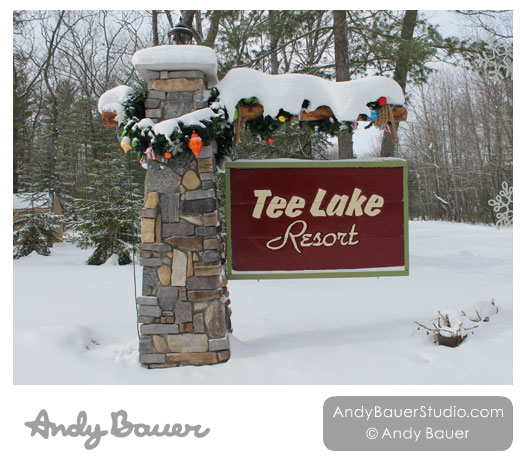 Tee Lake Resort Entrance Winter