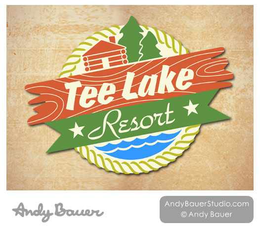 Tee Lake Resort Graphic Logo by Andy Bauer and Dave Gugel