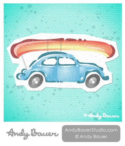 VW Beetle Canoe Print Andy Bauer