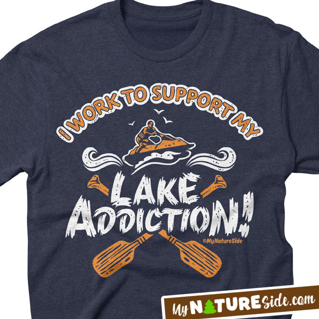 Lake Addiction Life Living Girl Guy Vintage Retro Apparel TShirt