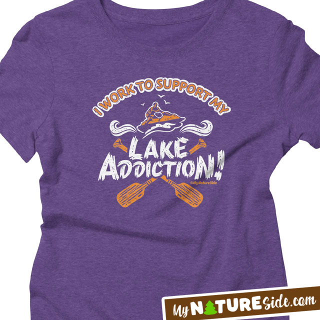 Lake Girl Addiction Life Living Girl Guy Vintage Retro Apparel TShirt