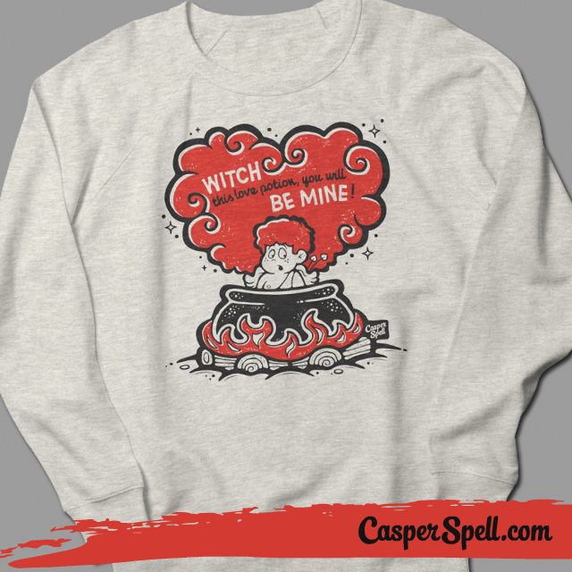 vintage valentines cards witch cupid crew neck sweatshirt love potion casper spell