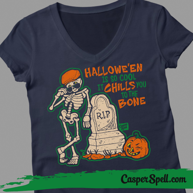 Ladies Vneck Halloween Hipster Retro Vintage Style Fashion Casper Spell