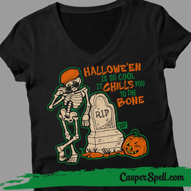 Ladies Vneck Hipster Halloween Fashion Style Vintage Retro Iconic Casper Spell