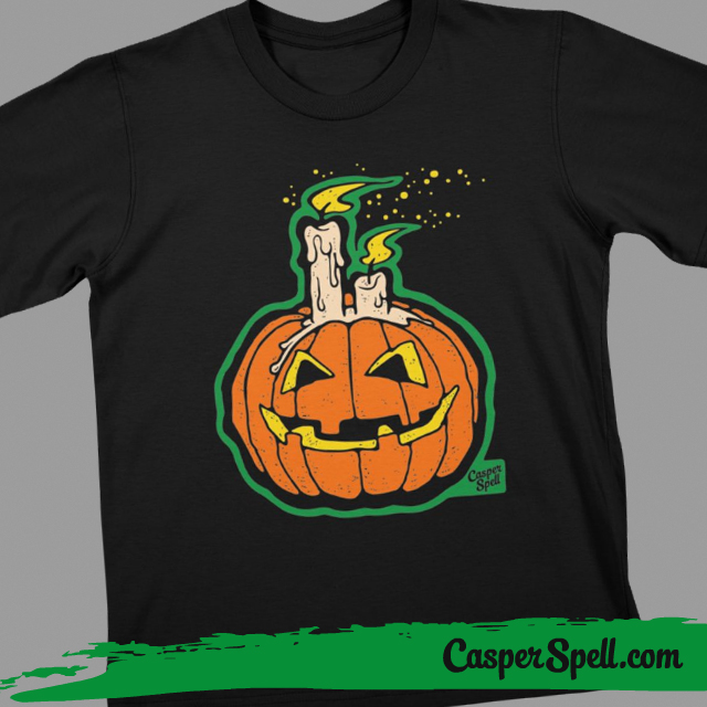 Vintage Halloween Kids Shirt Apparel Pumpkin Art Casper Spell