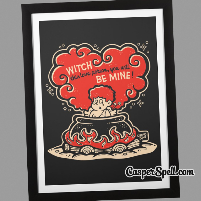 vintage valentines cards prints framed cupid witch cauldron creepy spooky spells potions casper spell