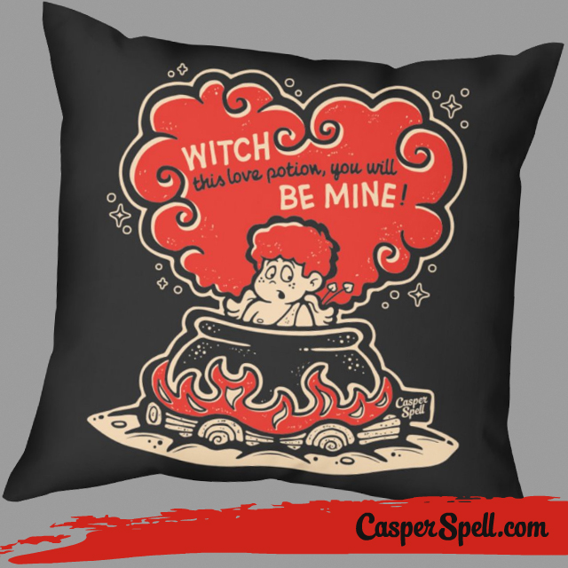 vintage valentines cards pillows decorations home goods witch cupid love potions cauldron casper spell