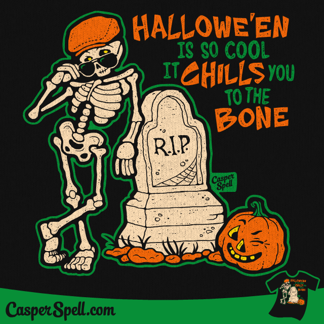 Scary Chills to the Bone Cool Skeleton Haunted Haunting Shirt Apparel Decor Casper Spell